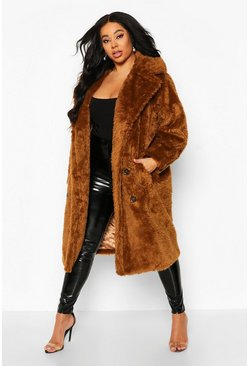 Tobacco Plus Teddy Faux Fur Button Detail Coat