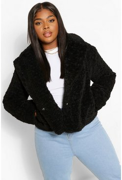 Womens Black Plus Teddy Faux Fur Short Length Coat