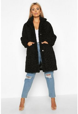 Womens Black Plus Faux Fur Teddy Pocket Coat