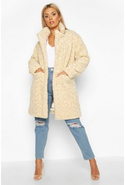 Cream Plus Faux Fur Teddy Pocket Coat