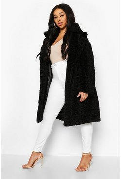 Womens Black Plus Teddy Faux Fur Belted Mid Length Coat