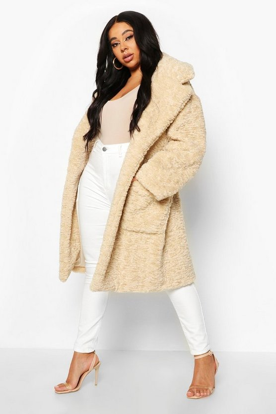 Cream Plus Teddy Faux Fur Belted Mid Length Coat