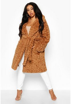 Womens Toffee Plus Teddy Faux Fur Belted Mid Length Coat