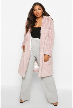 Womens Mauve Plus Supersoft Faux Fur Midi Length Coat