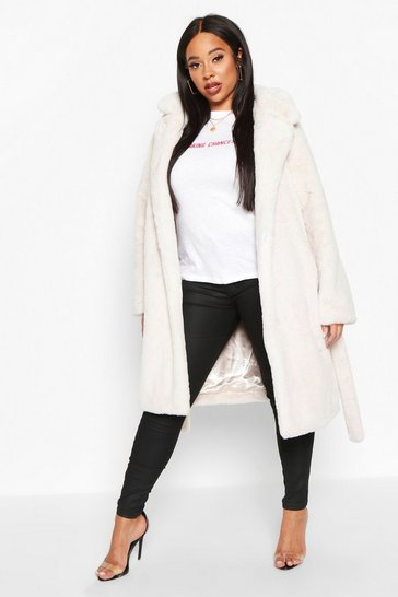 Womens Cream Plus Supersoft Belted Faux Fur Longline Coat