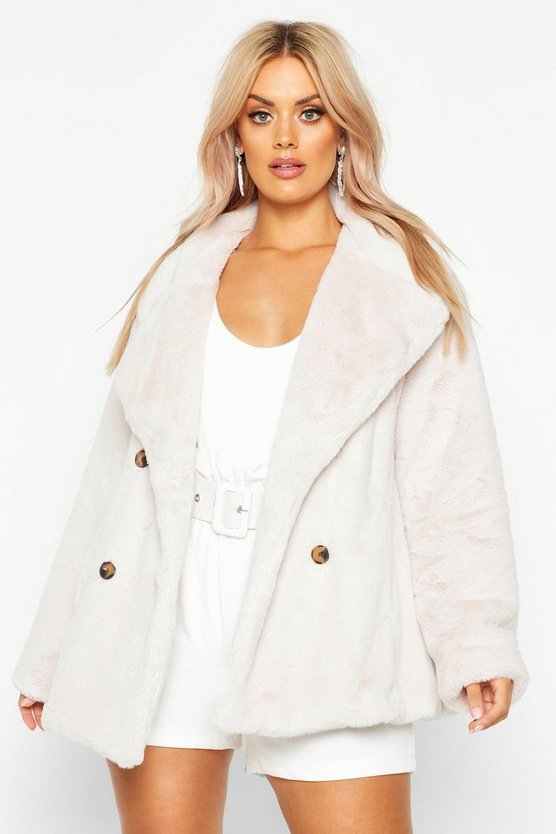 Plus Supersoft Faux Fur Double Breasted Coat by Boohoo