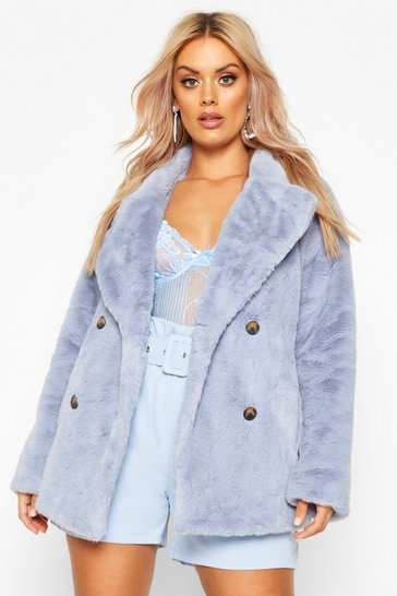 Womens Dusty blue Plus Supersoft Faux Fur Double Breasted Coat