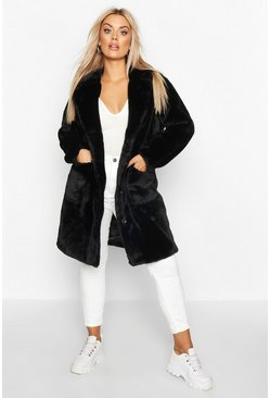 Womens Black Plus Supersoft Faux Fur Button Through Coat