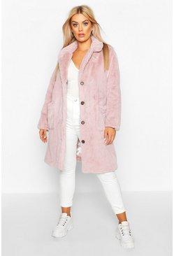 Plus Supersoft Faux Fur Button Through Coat