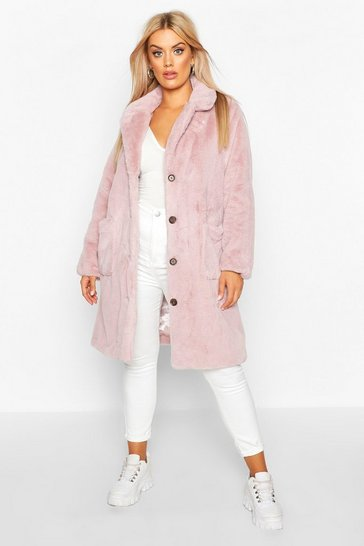 Womens Mauve Plus Supersoft Faux Fur Button Through Coat
