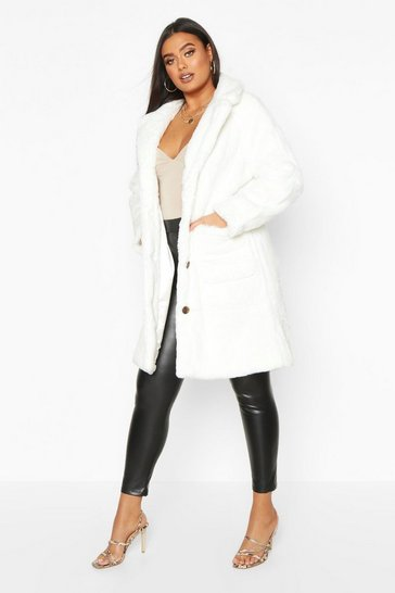 White Plus Supersoft Faux Fur Button Through Coat