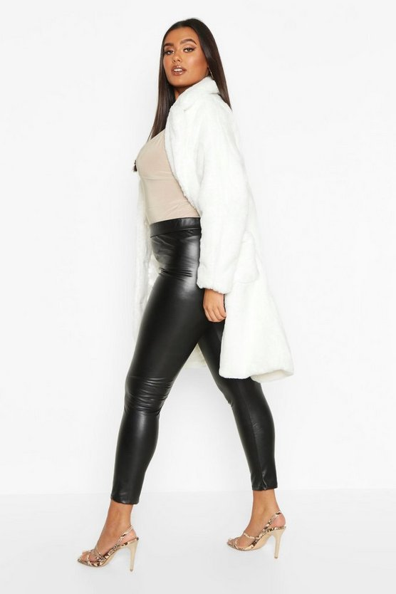 Plus Supersoft Faux Fur Button Through Coat