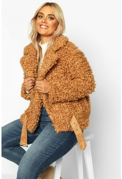 Womens Toffee Plus Teddy Faux Aviator Jacket