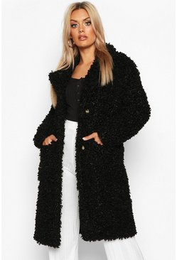 Womens Black Plus Teddy Faux Fur Longline Coat