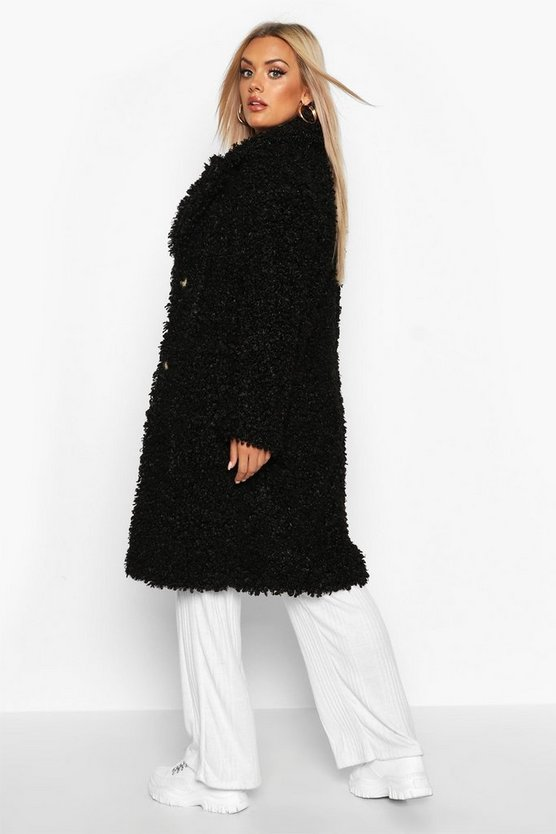 Plus Teddy Faux Fur Longline Coat