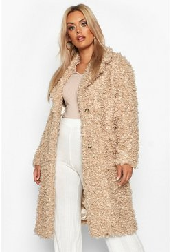 Womens Caramel Plus Teddy Faux Fur Longline Coat