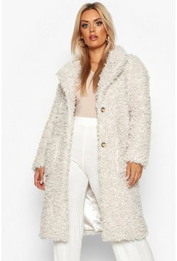 Cream Plus Teddy Faux Fur Longline Coat
