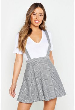 Womens Grey Petite Dogtooth Check Pinafore Skirt