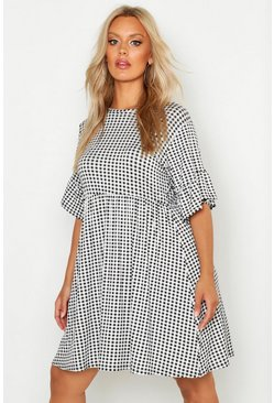 Black Plus Gingham Smock Dress