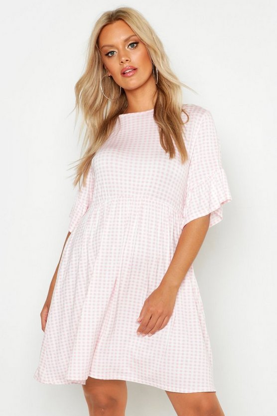 Womens Blush Plus Gingham Smock Dress