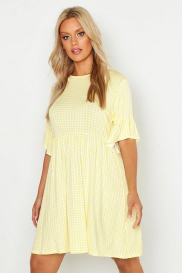 Yellow Plus Gingham Smock Dress