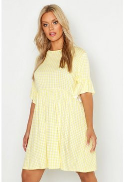 Womens Yellow Plus Gingham Smock Dress