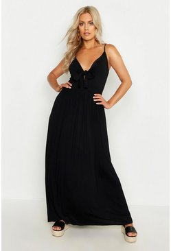 Womens Black Plus Strappy Knot Front Maxi Dress