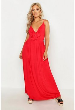 Womens Red Plus Strappy Knot Front Maxi Dress