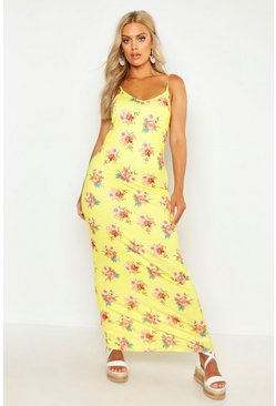Womens Yellow Plus Floral Strappy Maxi Dress