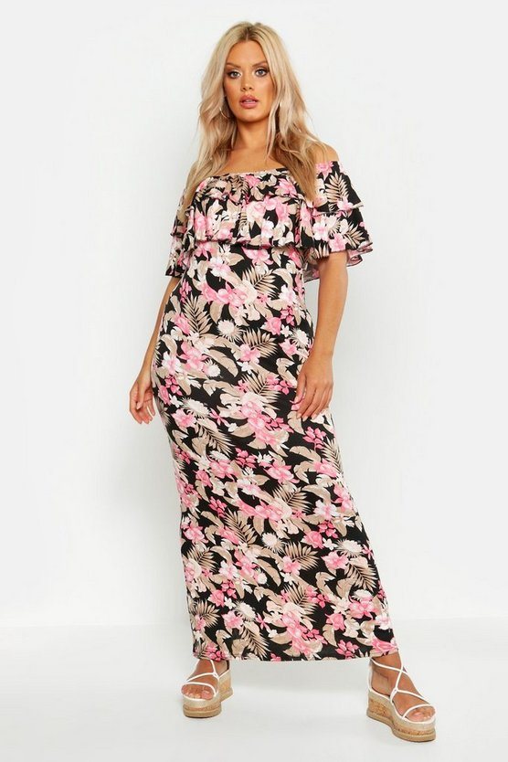 Womens Black Plus Floral Off The Shoulder Ruffle Maxi Dress