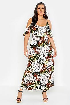 Plus Tropical Palm Ruffle Cold Shoulder Maxi Dress