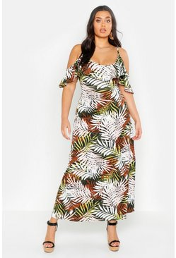 Womens Khaki Plus Tropical Palm Ruffle Cold Shoulder Maxi Dress