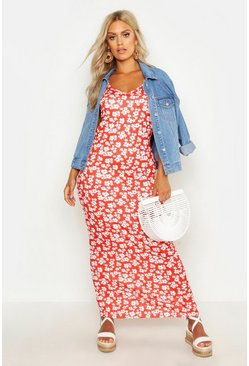 Womens Red Plus Ditsy Floral Printed Strappy Maxi Dress
