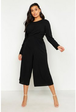 Womens Black Plus Woven Front Cullote Jumpsuit