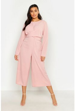 Womens Blush Plus Woven Front Cullote Jumpsuit