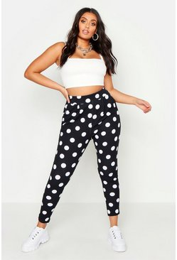 Womens Black Plus Spot Print Pleat Front Trouser