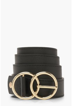 Womens Black Plus Double O Ring Waist Belt