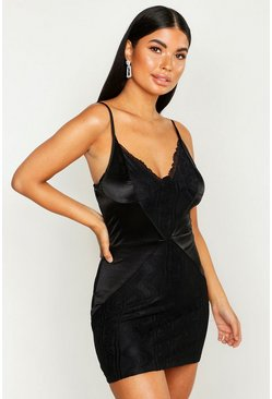Womens Black Petite Lace and Satin Mini Dress