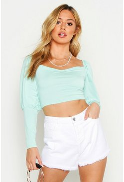Womens Sage Petite Square Neck Volume Sleeve Crop Top