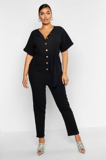 Womens Black Plus Button Linen Look Boiler Suit