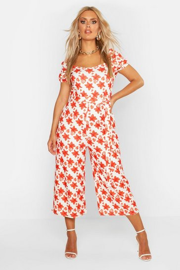 White Plus Floral Square Neck Self Belt Culotte Jumpsuit