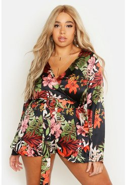 Womens Black Plus Tropical Print Buckle Playsuit