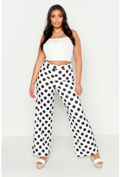 Womens White Plus Polka Dot Wide Leg Trouser
