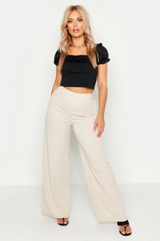 Womens Stone Plus Basic Crepe Wide Leg Pants