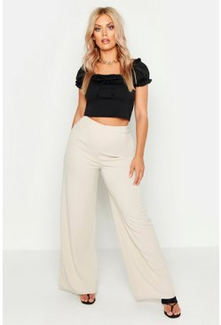 Womens Stone Plus Basic Crepe Wide Leg Trousers