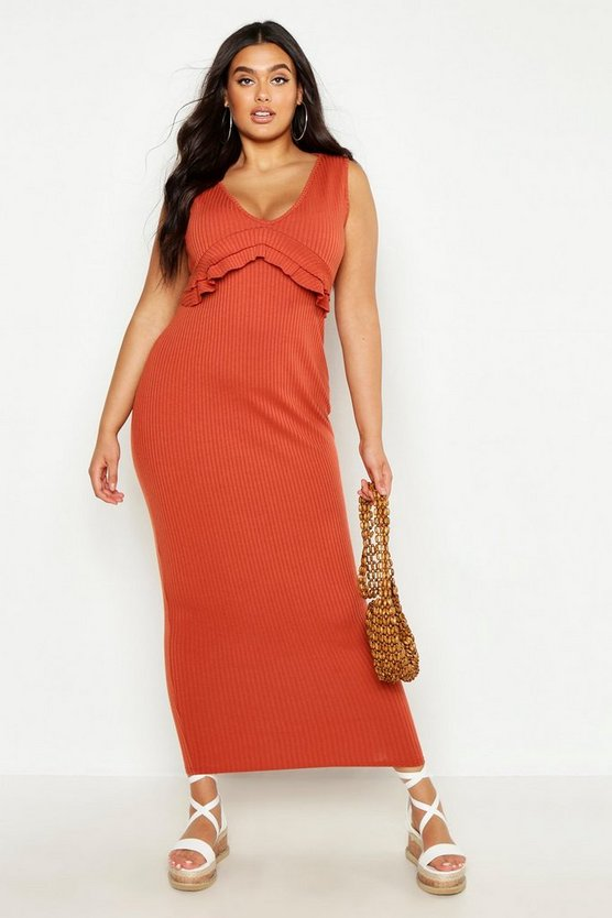 Womens Terracotta Plus Rib Ruffle Maxi Dress