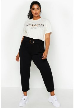 Dam Black Plus Belted Paper Bag Waist Trouser