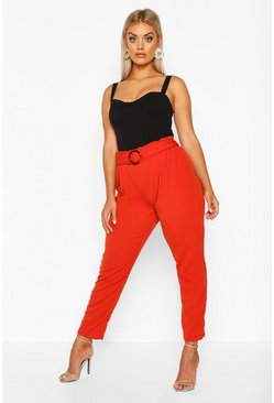 Womens Rust Plus Belted Paper Bag Waist Trouser