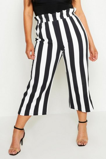 Womens White Plus High Waisted Stripe Culotte