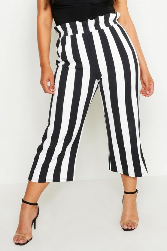 Plus High Waisted Stripe Culotte by Boohoo